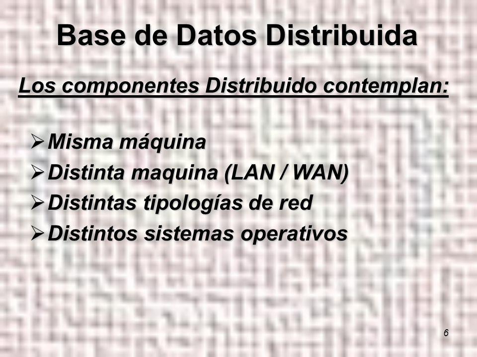 6 Los componentes Distribuido contemplan: Misma máquina Misma máquina Distinta maquina (LAN / WAN) Distinta maquina (LAN / WAN) Distintas tipologías de red Distintas tipologías de red Distintos sistemas operativos Distintos sistemas operativos Base de Datos Distribuida