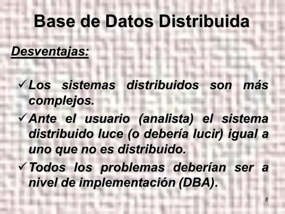 8 Desventajas: Los sistemas distribuidos son más complejos.