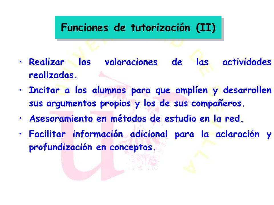 Funciones de tutorización (I) Presentación del curso a los estudiantes y de las normas de funcionamiento. Resolver de forma individual y colectiva las