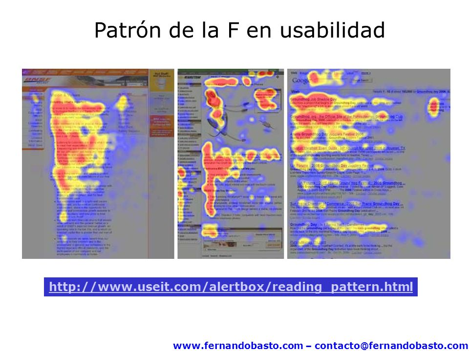 www.fernandobasto.com – contacto@fernandobasto.com http://www.useit.com/alertbox/reading_pattern.html Patrón de la F en usabilidad