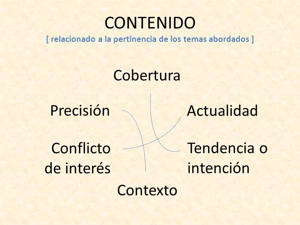 CONTENIDO [ relacionado a la pertinencia de los temas abordados ] Cobertura Precisión Actualidad Conflicto de interés Tendencia o intención Contexto