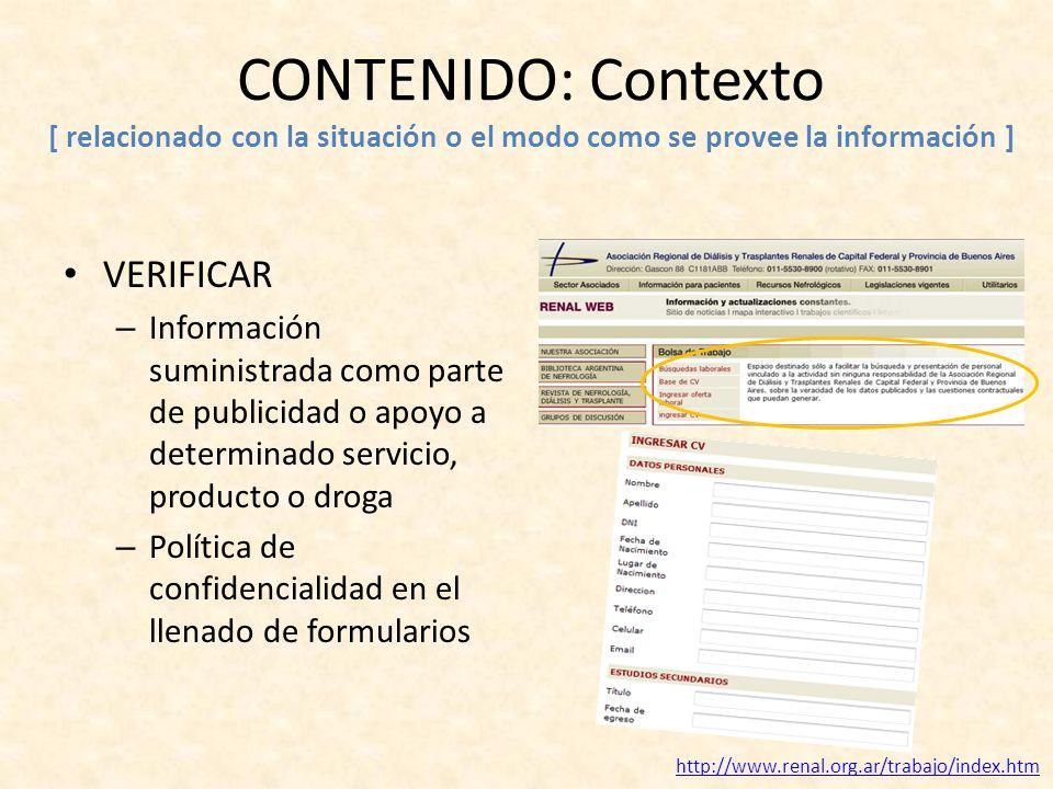 CONTENIDO: Contexto [ relacionado con la situación o el modo como se provee la información ] VERIFICAR – Información suministrada como parte de public