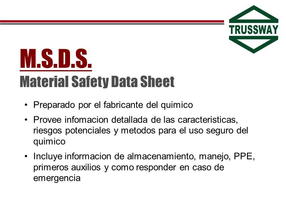 Preparado por el fabricante del quimico Provee infomacion detallada de las caracteristicas, riesgos potenciales y metodos para el uso seguro del quimi