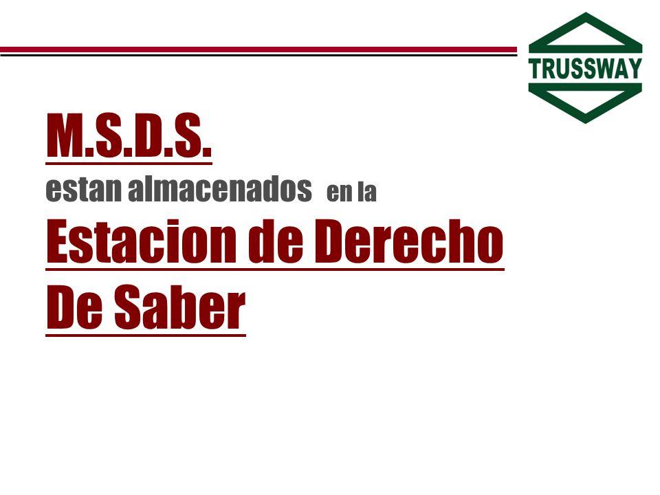 M.S.D.S. estan almacenados en la Estacion de Derecho De Saber