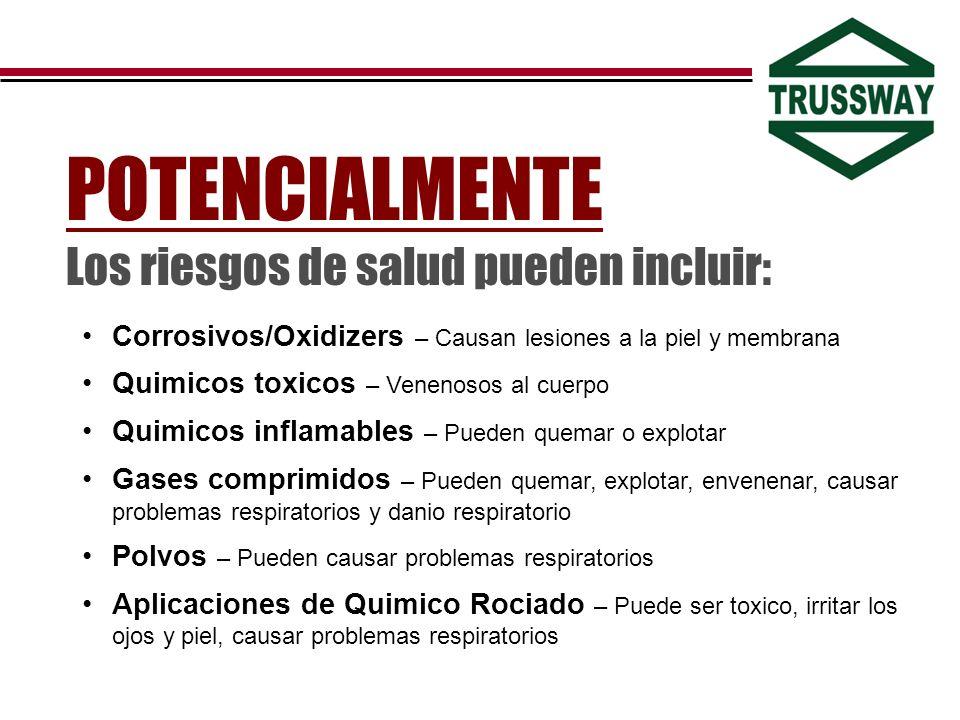 Corrosivos/Oxidizers – Causan lesiones a la piel y membrana Quimicos toxicos – Venenosos al cuerpo Quimicos inflamables – Pueden quemar o explotar Gas