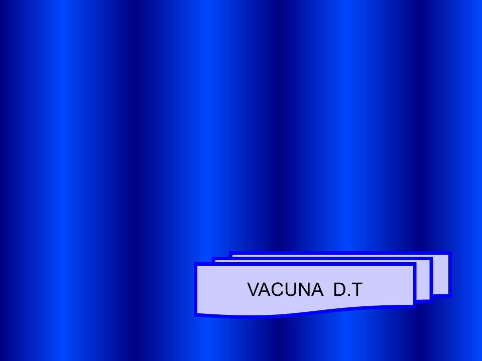 NOMBRE GENERICO : D.T (DUPLE BACTERIANA) TIPO DE VACUNA: MUERTA (TOXOIDE) ANTIGENOS : TOXOIDE DIFTERICO Y TETANICO CEPAS: DIFTERIA (PARKE WILLIAMS 8) TETANOS (HARVARD) MEDIOS DE CULTIVO: DIFTERIA MICHIGAN Y MULLER-MILLER TETANOS (LATHAN Y TIOGLICOLATO) POTENCIA: DIFTERIA (10-20 LF) TETANOS (10-20 LF) EFICACIA: DIFTERIA Y TETANOS (95%) COMPONENTES : PRESERVATIVO : TIMEROSAL (0.02 MGS) ADYUVANTE : HIDROXIDO DE ALUMINIO (0.85 MG) FORMOL RESIDUAL (0.02 %) PH: 6.0 -7.0) NUMERO DE DOSIS: 1 DOSIS REACTIVACION EN PRIMER GRADO