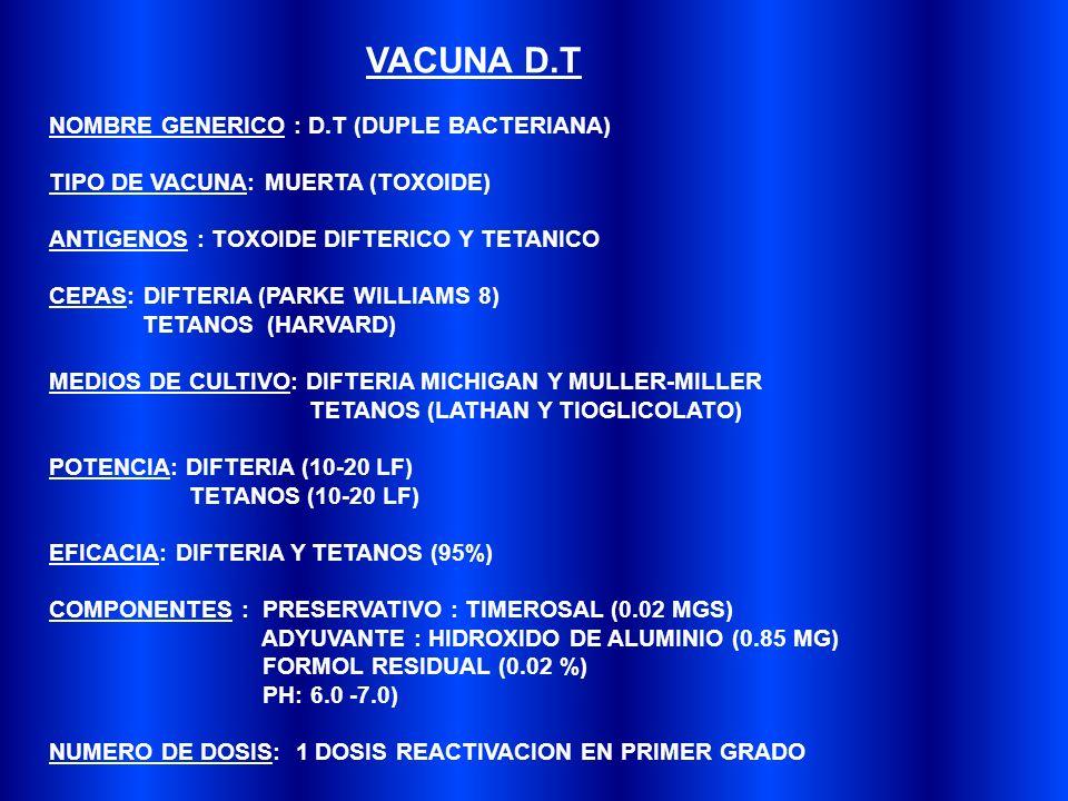 VOLUMEN DE DOSIS: 0.5 ML VIA DE ADMINISTRACION: INTRAMUSCULAR (IM) SITIO ANATOMICO DE APLICACION: DELTOIDES PRESENTACION: LIQUIDA Y EN FRASCOS DE 10 DOSIS APARIENCIA NORMAL : SUSPENSION BLANQUECINA MARCADAMENTE TURBIA CONSERVACION: 2 -8 GRADOS CENTIGRADOS VIDA UTIL: 18 MESES CONTRAINDICACIONES: PERMANENTES: REACCION ANAFILACTICA SEVERA A DOSIS PREVIA DE VACUNA TEMPORAL: ENFERMEDAD AGUDA EN EL RECEPTOR DE LA VACUNA