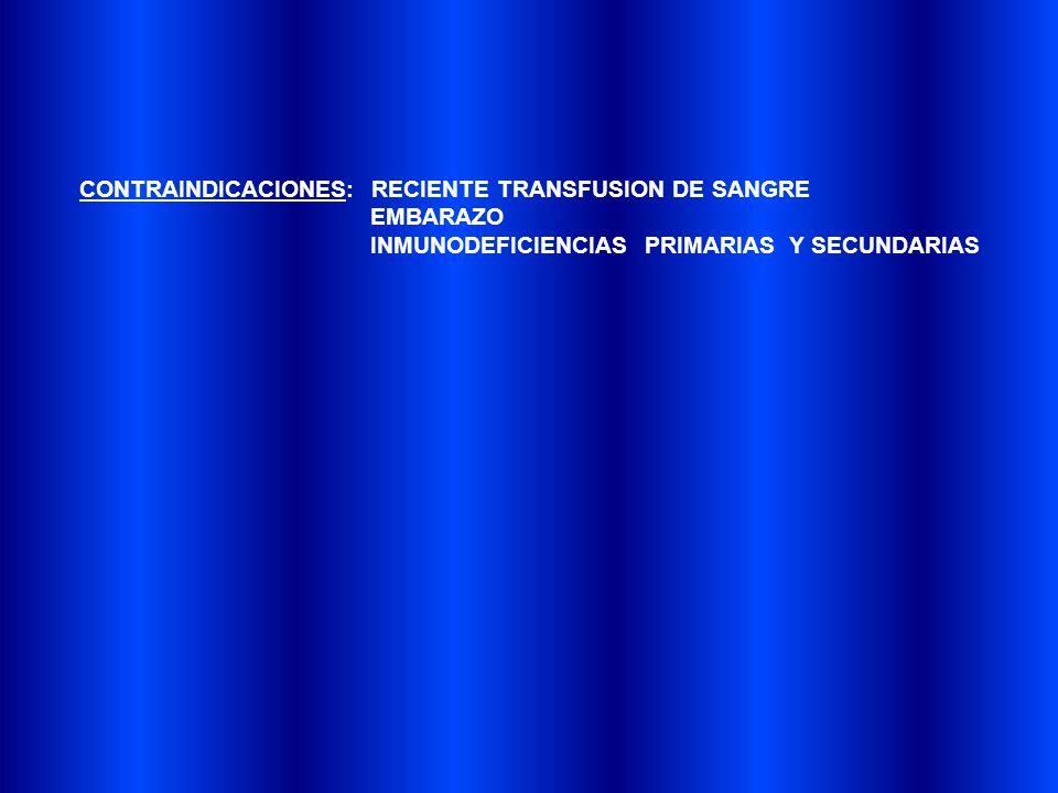 CONTRAINDICACIONES: RECIENTE TRANSFUSION DE SANGRE EMBARAZO INMUNODEFICIENCIAS PRIMARIAS Y SECUNDARIAS