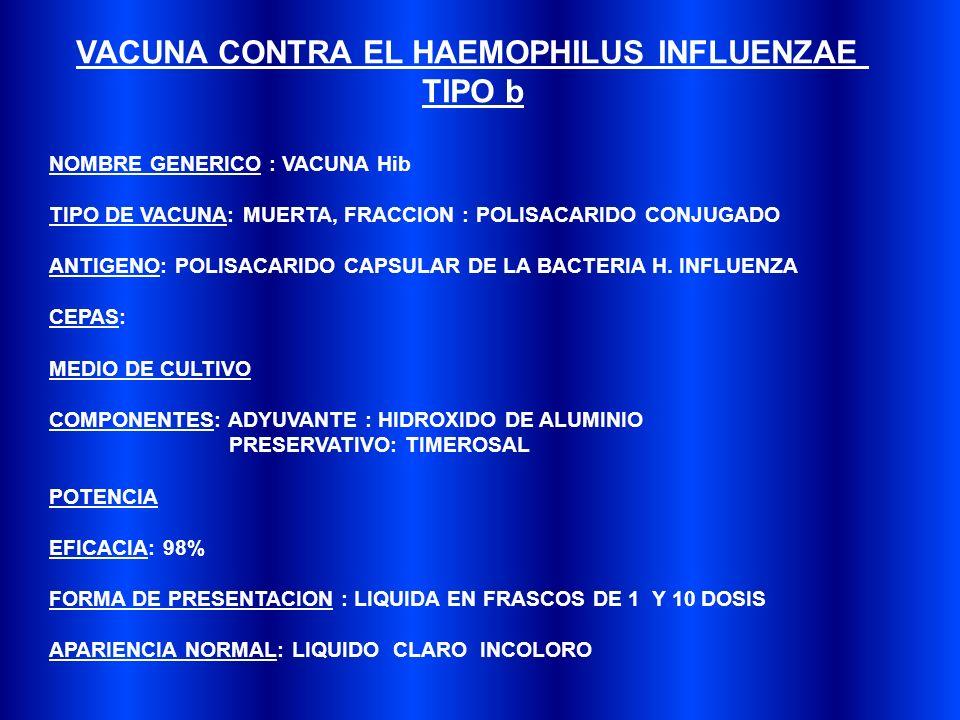 VACUNA CONTRA EL HAEMOPHILUS INFLUENZAE TIPO b NOMBRE GENERICO : VACUNA Hib TIPO DE VACUNA: MUERTA, FRACCION : POLISACARIDO CONJUGADO ANTIGENO: POLISACARIDO CAPSULAR DE LA BACTERIA H.