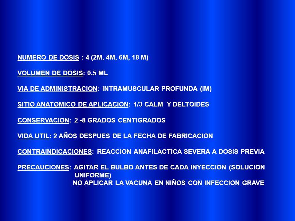 NUMERO DE DOSIS : 4 (2M, 4M, 6M, 18 M) VOLUMEN DE DOSIS: 0.5 ML VIA DE ADMINISTRACION: INTRAMUSCULAR PROFUNDA (IM) SITIO ANATOMICO DE APLICACION: 1/3 CALM Y DELTOIDES CONSERVACION: 2 -8 GRADOS CENTIGRADOS VIDA UTIL: 2 AÑOS DESPUES DE LA FECHA DE FABRICACION CONTRAINDICACIONES: REACCION ANAFILACTICA SEVERA A DOSIS PREVIA PRECAUCIONES: AGITAR EL BULBO ANTES DE CADA INYECCION (SOLUCION UNIFORME) NO APLICAR LA VACUNA EN NIÑOS CON INFECCION GRAVE