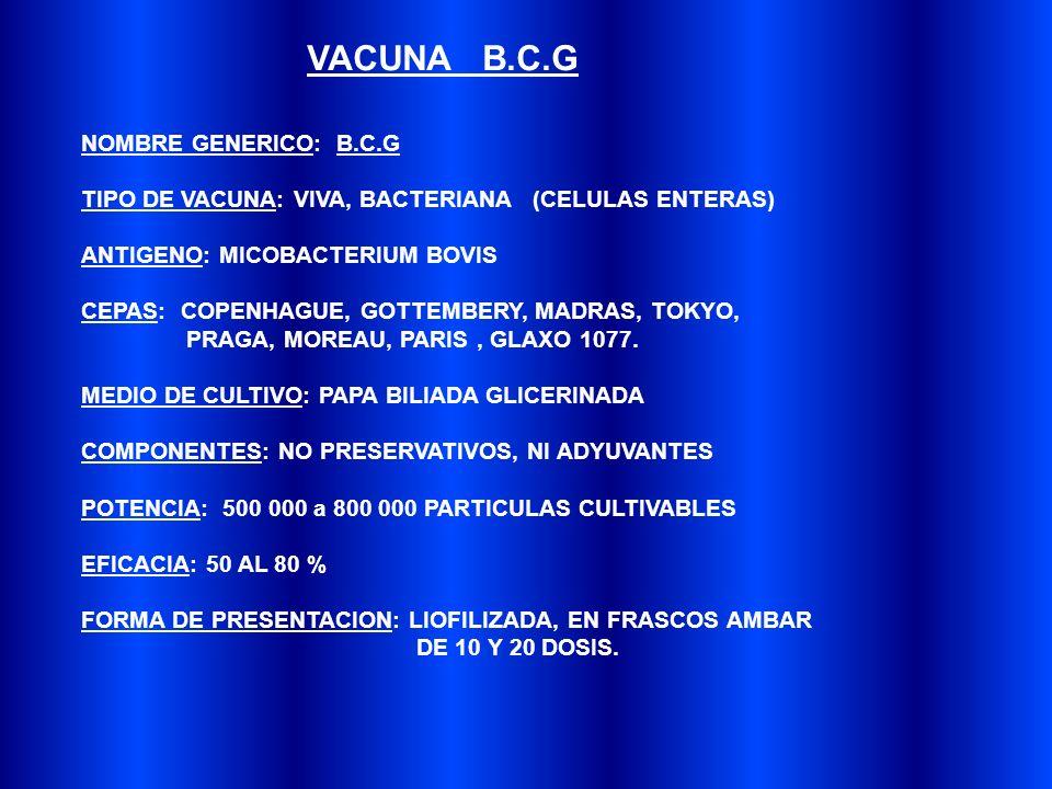 NOMBRE GENERICO: B.C.G TIPO DE VACUNA: VIVA, BACTERIANA (CELULAS ENTERAS) ANTIGENO: MICOBACTERIUM BOVIS CEPAS: COPENHAGUE, GOTTEMBERY, MADRAS, TOKYO, PRAGA, MOREAU, PARIS, GLAXO 1077.