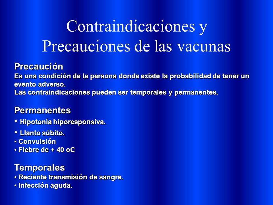 Contraindicaciones y Precauciones de las vacunas Precaución Es una condición de la persona donde existe la probabilidad de tener un evento adverso. La