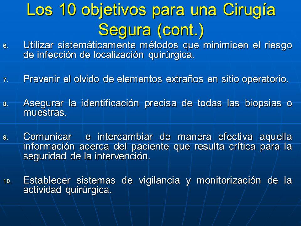 Los 10 objetivos para una Cirugía Segura (cont.) 6.