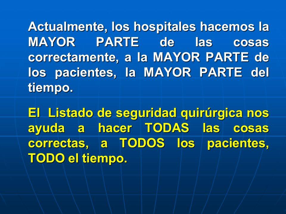 Actualmente, los hospitales hacemos la MAYOR PARTE de las cosas correctamente, a la MAYOR PARTE de los pacientes, la MAYOR PARTE del tiempo.