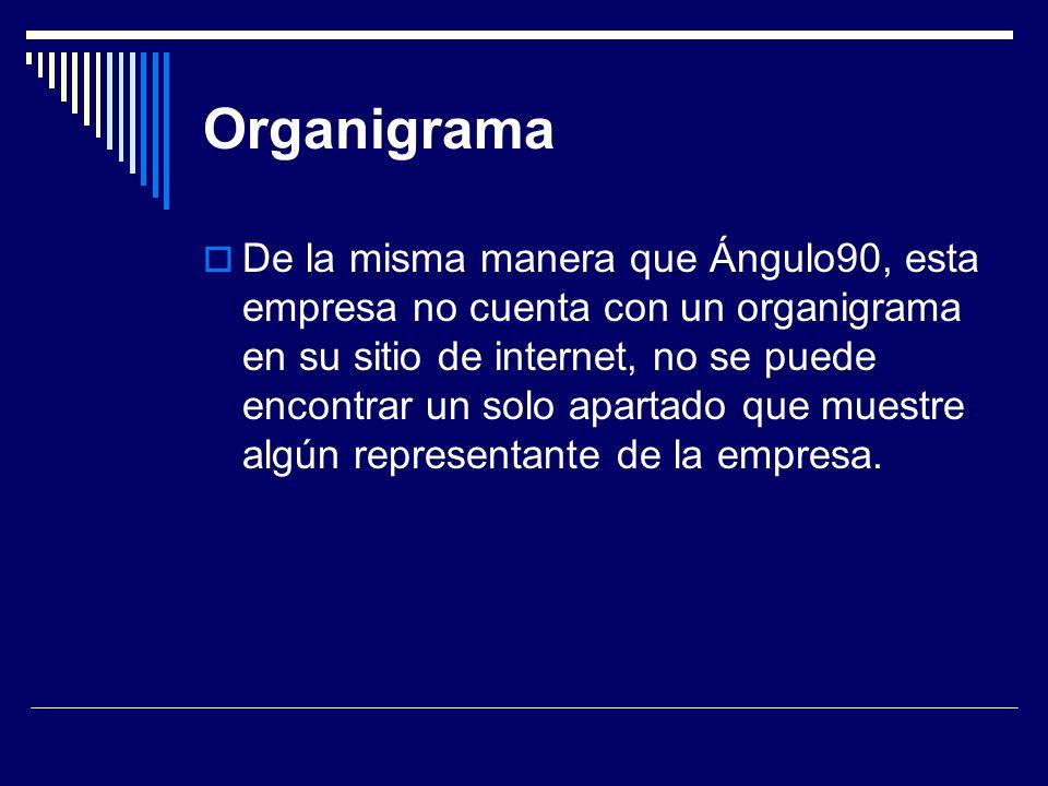 Organigrama De la misma manera que Ángulo90, esta empresa no cuenta con un organigrama en su sitio de internet, no se puede encontrar un solo apartado que muestre algún representante de la empresa.