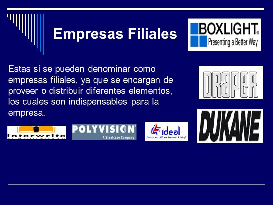 Empresas Filiales Estas sí se pueden denominar como empresas filiales, ya que se encargan de proveer o distribuir diferentes elementos, los cuales son indispensables para la empresa.