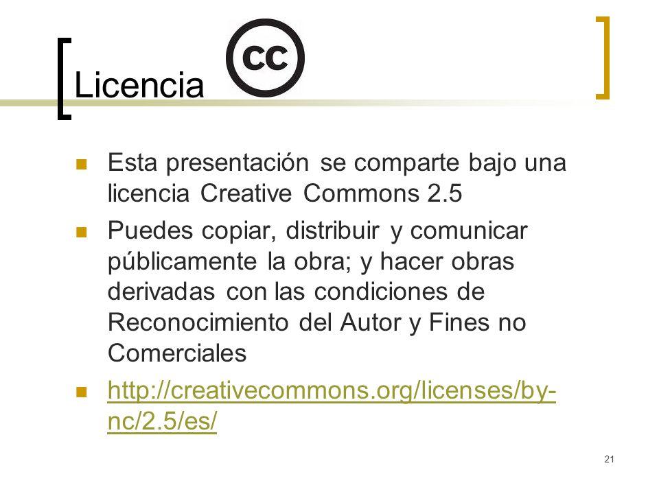 21 Licencia Esta presentación se comparte bajo una licencia Creative Commons 2.5 Puedes copiar, distribuir y comunicar públicamente la obra; y hacer obras derivadas con las condiciones de Reconocimiento del Autor y Fines no Comerciales http://creativecommons.org/licenses/by- nc/2.5/es/ http://creativecommons.org/licenses/by- nc/2.5/es/