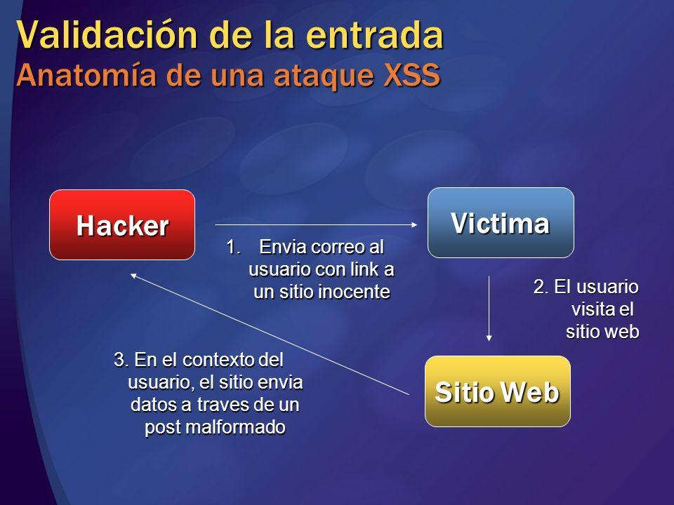 Validación de la entrada Anatomía de una ataque XSS Hacker Victima Sitio Web 1.Envia correo al usuario con link a un sitio inocente 2. El usuario visi