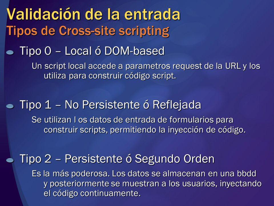 Validación de la entrada Tipos de Cross-site scripting Tipo 0 – Local ó DOM-based Un script local accede a parametros request de la URL y los utiliza