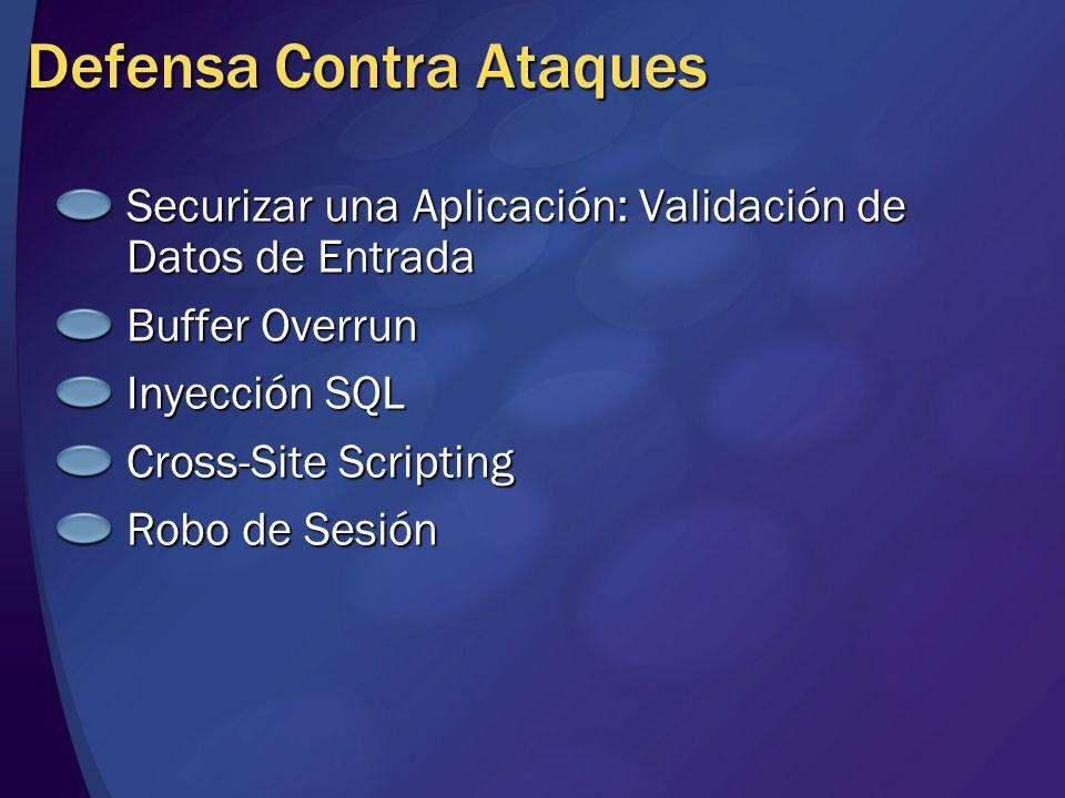 Defensa Contra Ataques Securizar una Aplicación: Validación de Datos de Entrada Buffer Overrun Inyección SQL Cross-Site Scripting Robo de Sesión