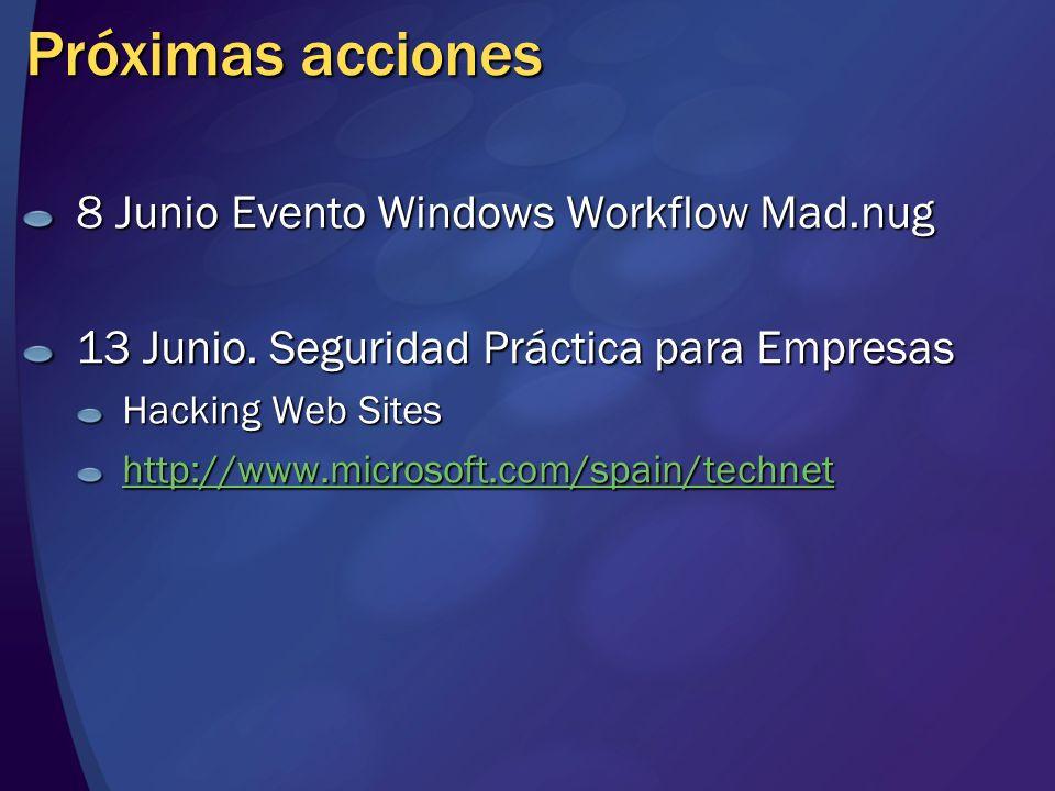 Próximas acciones 8 Junio Evento Windows Workflow Mad.nug 13 Junio. Seguridad Práctica para Empresas Hacking Web Sites http://www.microsoft.com/spain/