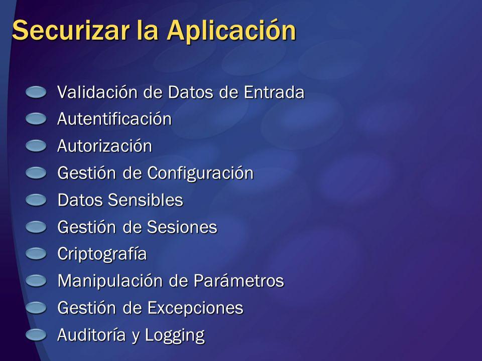 Securizar la Aplicación Validación de Datos de Entrada AutentificaciónAutorización Gestión de Configuración Datos Sensibles Gestión de Sesiones Cripto