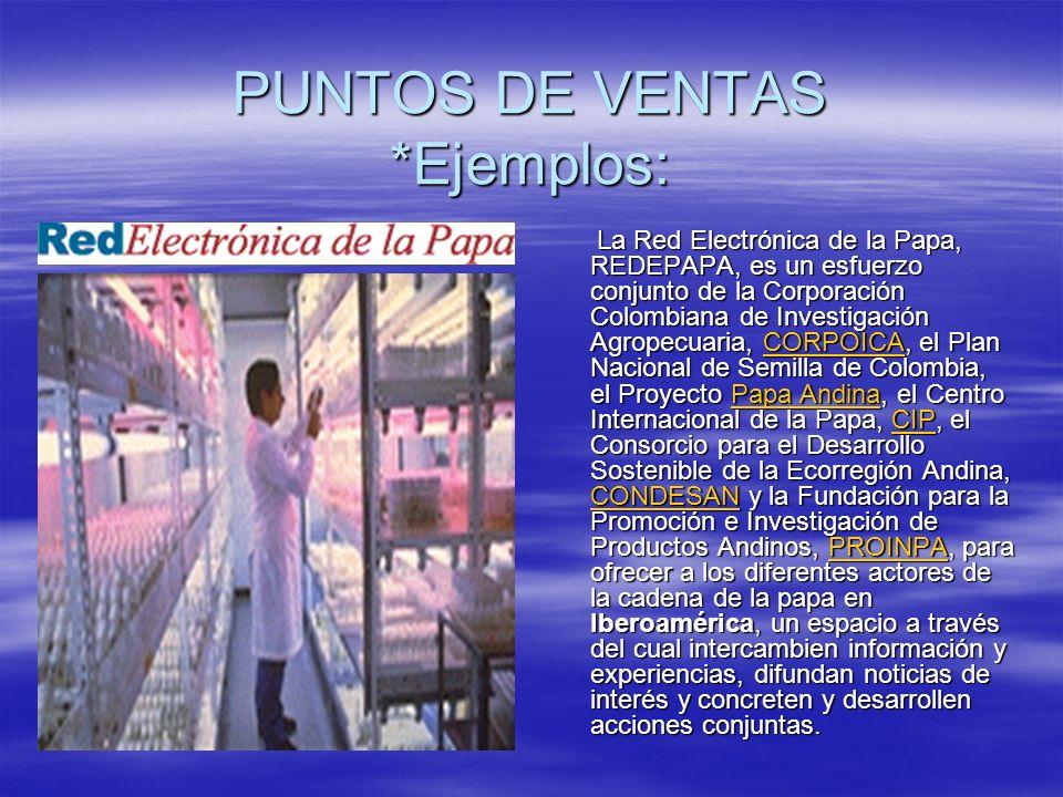 PUNTOS DE VENTAS *Ejemplos: La Red Electrónica de la Papa, REDEPAPA, es un esfuerzo conjunto de la Corporación Colombiana de Investigación Agropecuaria, CORPOICA, el Plan Nacional de Semilla de Colombia, el Proyecto Papa Andina, el Centro Internacional de la Papa, CIP, el Consorcio para el Desarrollo Sostenible de la Ecorregión Andina, CONDESAN y la Fundación para la Promoción e Investigación de Productos Andinos, PROINPA, para ofrecer a los diferentes actores de la cadena de la papa en Iberoamérica, un espacio a través del cual intercambien información y experiencias, difundan noticias de interés y concreten y desarrollen acciones conjuntas.