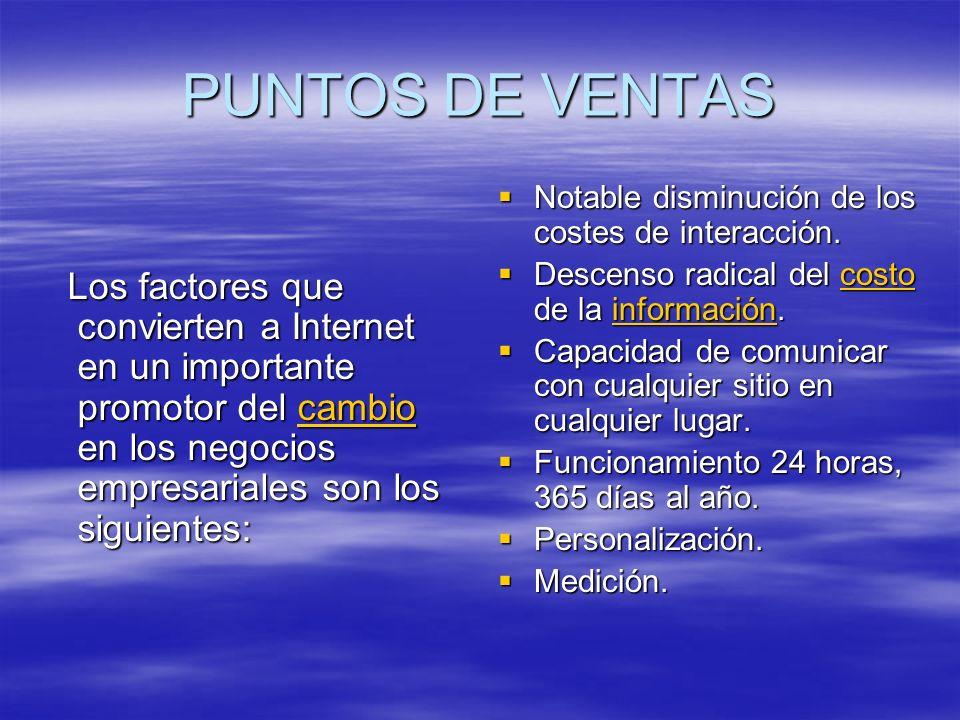 PUNTOS DE VENTAS Los factores que convierten a Internet en un importante promotor del cambio en los negocios empresariales son los siguientes: Los fac