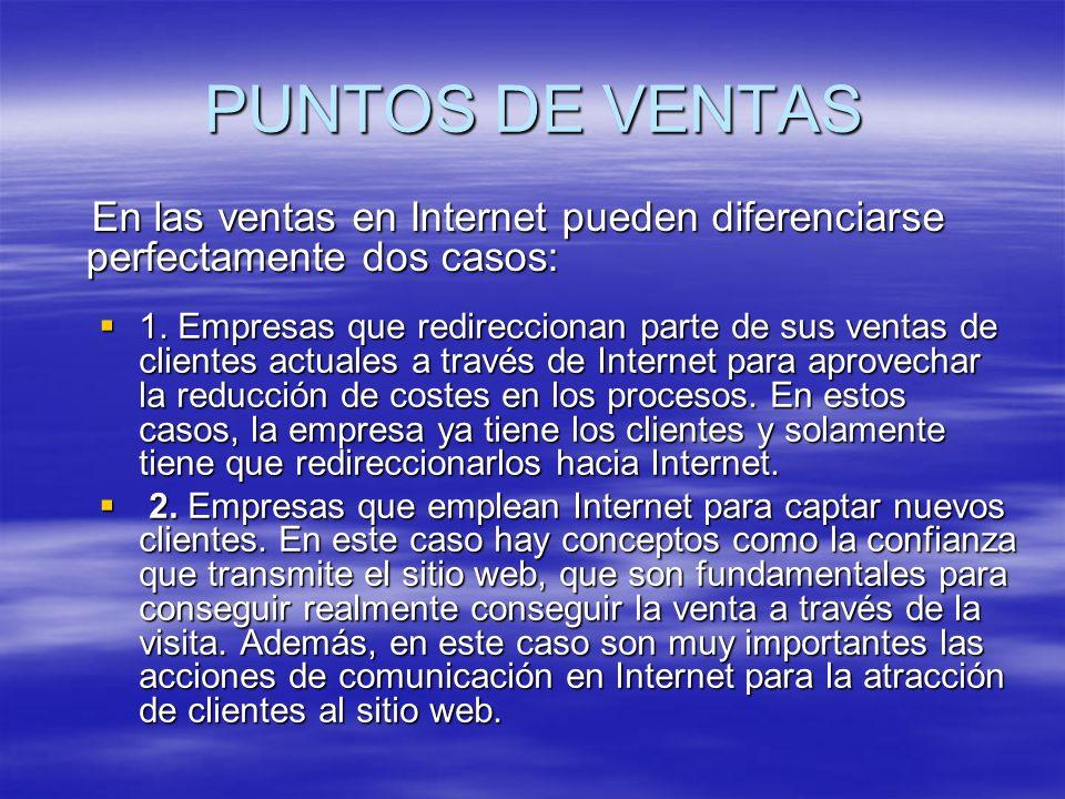 PUNTOS DE VENTAS En las ventas en Internet pueden diferenciarse perfectamente dos casos: En las ventas en Internet pueden diferenciarse perfectamente dos casos: 1.
