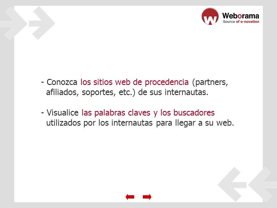 - Conozca los sitios web de procedencia (partners, afiliados, soportes, etc.) de sus internautas.