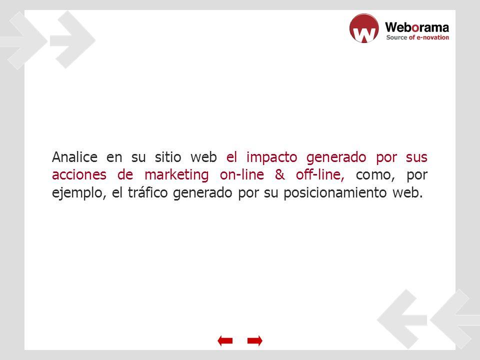 Analice en su sitio web el impacto generado por sus acciones de marketing on-line & off-line, como, por ejemplo, el tráfico generado por su posicionamiento web.