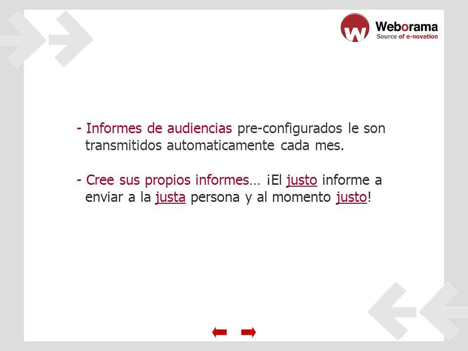 - Informes de audiencias pre-configurados le son transmitidos automaticamente cada mes.