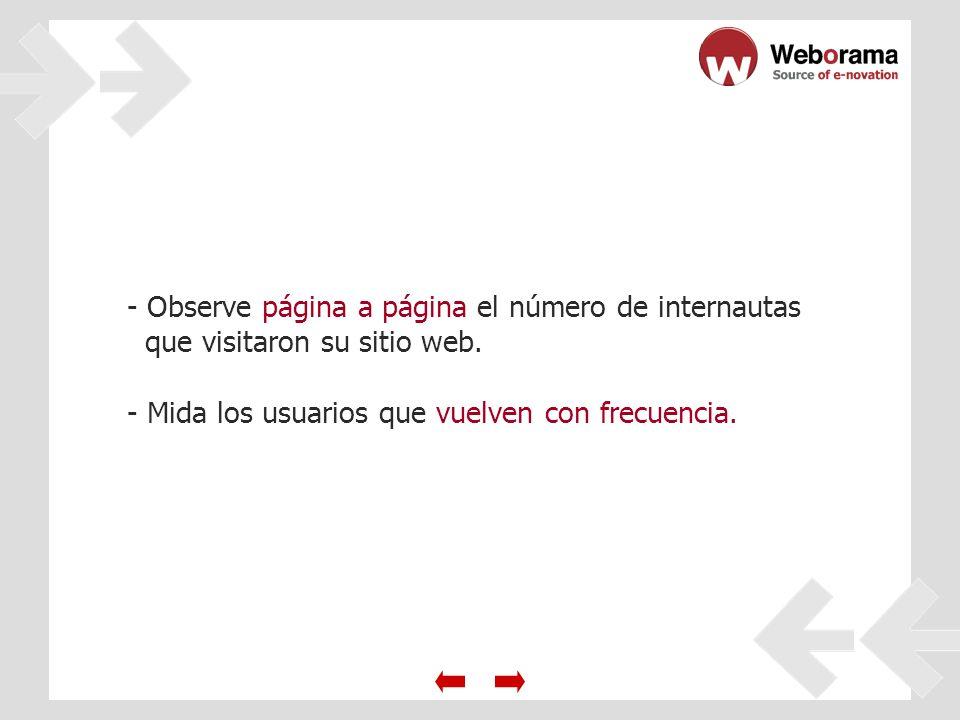 - Observe página a página el número de internautas que visitaron su sitio web.