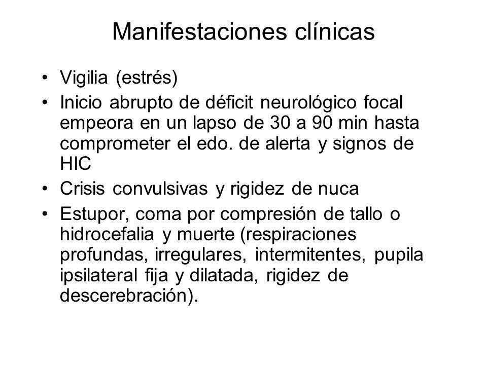 Manifestaciones clínicas Vigilia (estrés) Inicio abrupto de déficit neurológico focal empeora en un lapso de 30 a 90 min hasta comprometer el edo. de