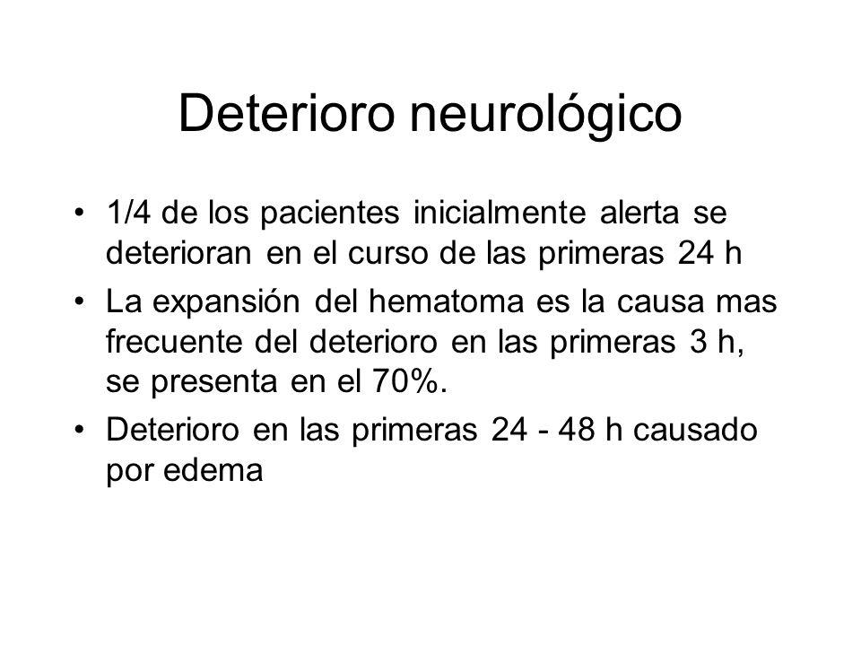 Deterioro neurológico 1/4 de los pacientes inicialmente alerta se deterioran en el curso de las primeras 24 h La expansión del hematoma es la causa ma