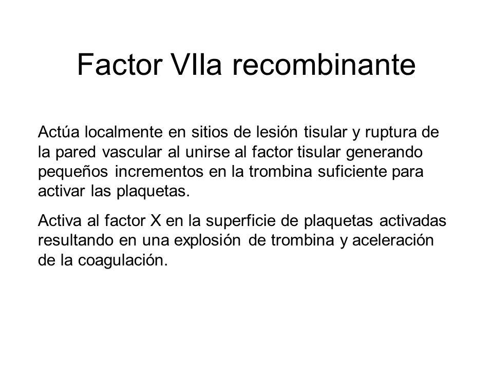 Factor VIIa recombinante Actúa localmente en sitios de lesión tisular y ruptura de la pared vascular al unirse al factor tisular generando pequeños in