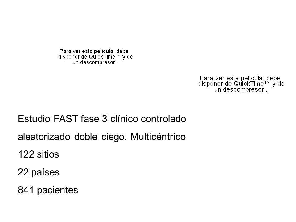 Estudio FAST fase 3 clínico controlado aleatorizado doble ciego. Multicéntrico 122 sitios 22 países 841 pacientes