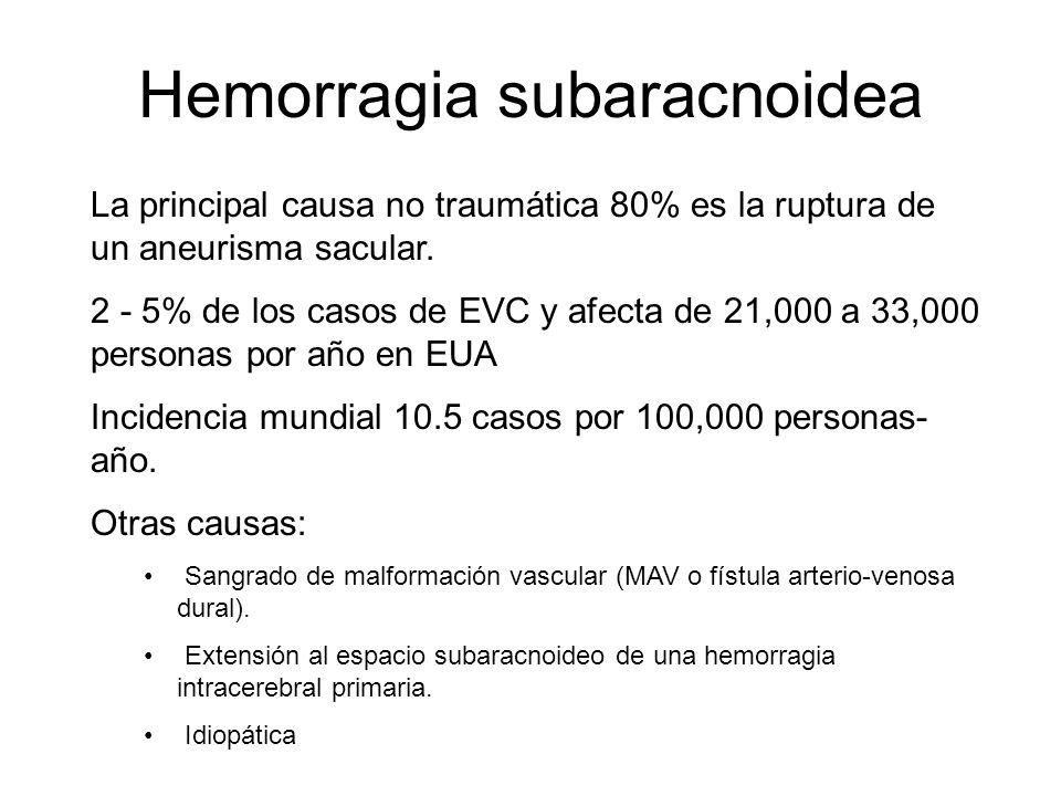 Hemorragia subaracnoidea La principal causa no traumática 80% es la ruptura de un aneurisma sacular. 2 - 5% de los casos de EVC y afecta de 21,000 a 3
