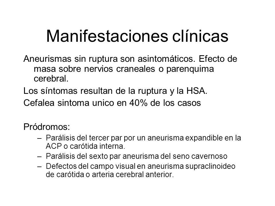 Manifestaciones clínicas Aneurismas sin ruptura son asintomáticos. Efecto de masa sobre nervios craneales o parenquima cerebral. Los síntomas resultan