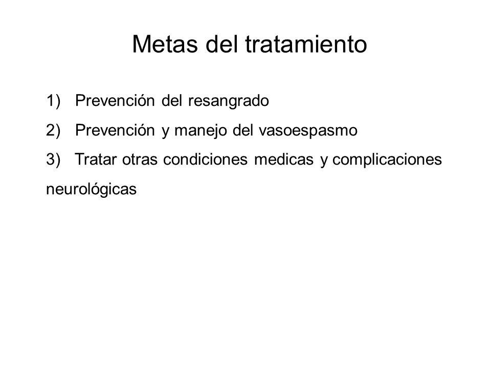 Metas del tratamiento 1) Prevención del resangrado 2) Prevención y manejo del vasoespasmo 3) Tratar otras condiciones medicas y complicaciones neuroló