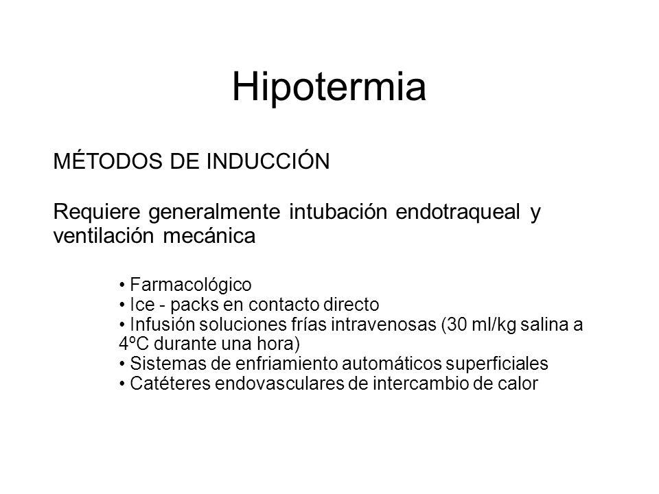 Hipotermia MÉTODOS DE INDUCCIÓN Requiere generalmente intubación endotraqueal y ventilación mecánica Farmacológico Ice - packs en contacto directo Inf