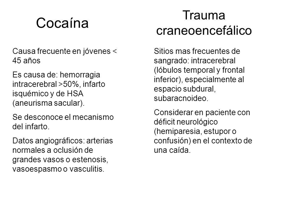 Cocaína Causa frecuente en jóvenes < 45 años Es causa de: hemorragia intracerebral >50%, infarto isquémico y de HSA (aneurisma sacular). Se desconoce