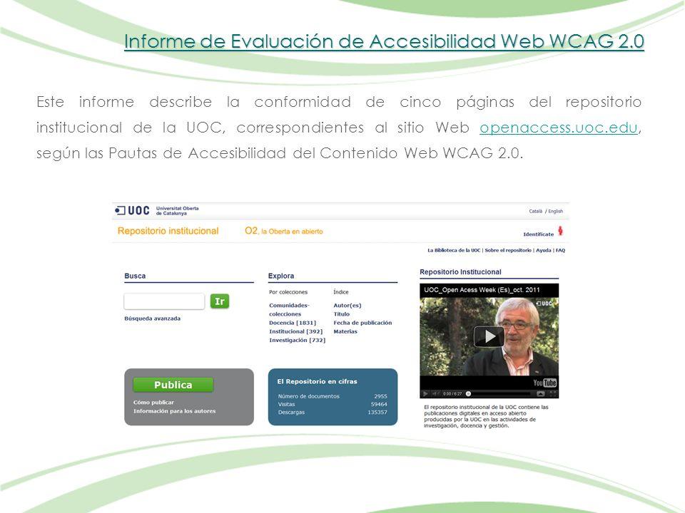 Informe de Evaluación de Accesibilidad Web WCAG 2.0 Este informe describe la conformidad de cinco páginas del repositorio institucional de la UOC, correspondientes al sitio Web openaccess.uoc.edu, según las Pautas de Accesibilidad del Contenido Web WCAG 2.0.openaccess.uoc.edu