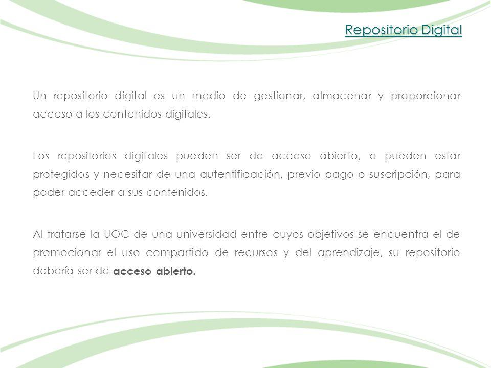 Repositorio Digital Un repositorio digital es un medio de gestionar, almacenar y proporcionar acceso a los contenidos digitales.