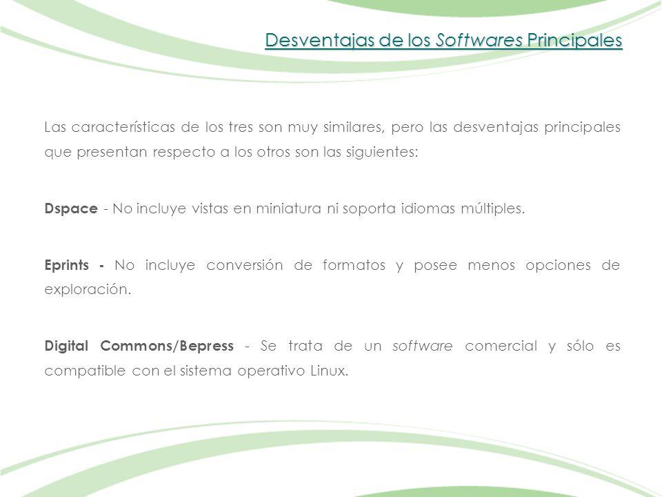 Desventajas de los Softwares Principales Las características de los tres son muy similares, pero las desventajas principales que presentan respecto a los otros son las siguientes: Dspace - No incluye vistas en miniatura ni soporta idiomas múltiples.