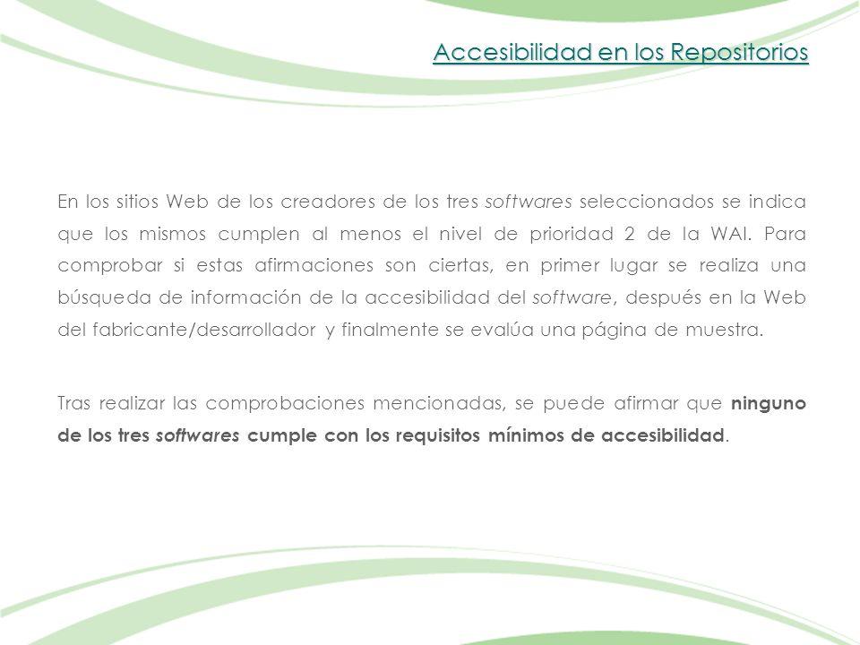 Accesibilidad en los Repositorios En los sitios Web de los creadores de los tres softwares seleccionados se indica que los mismos cumplen al menos el nivel de prioridad 2 de la WAI.