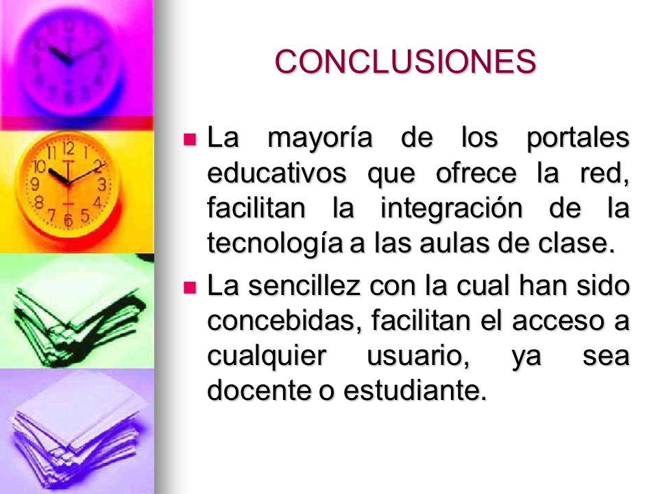 CONCLUSIONES La mayoría de los portales educativos que ofrece la red, facilitan la integración de la tecnología a las aulas de clase. La mayoría de lo