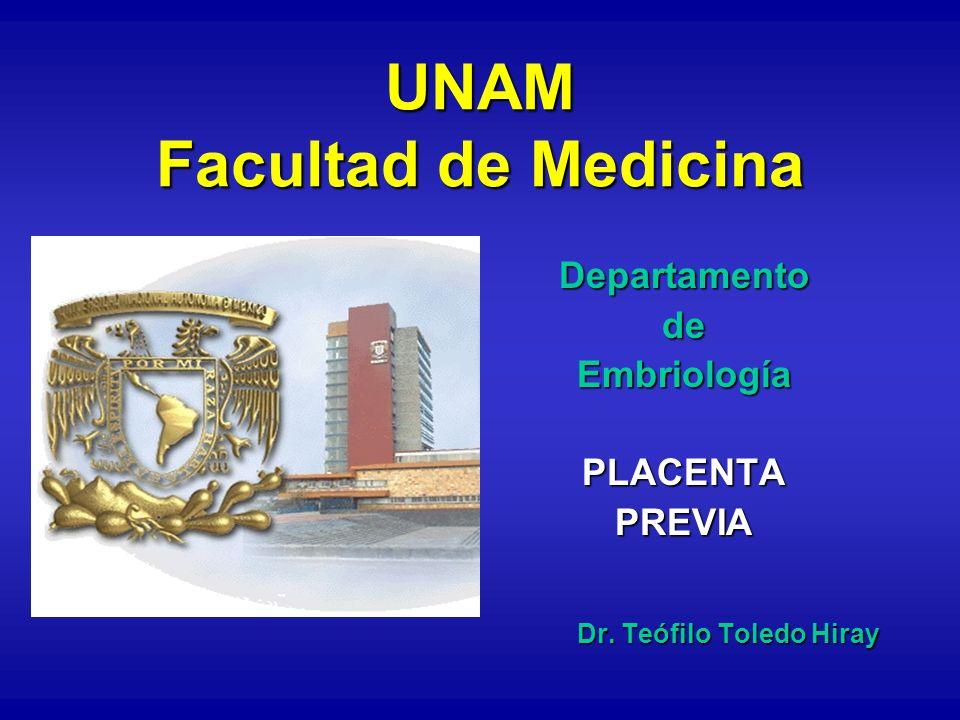 UNAM Facultad de Medicina DepartamentodeEmbriologíaPLACENTAPREVIA Dr. Teófilo Toledo Hiray
