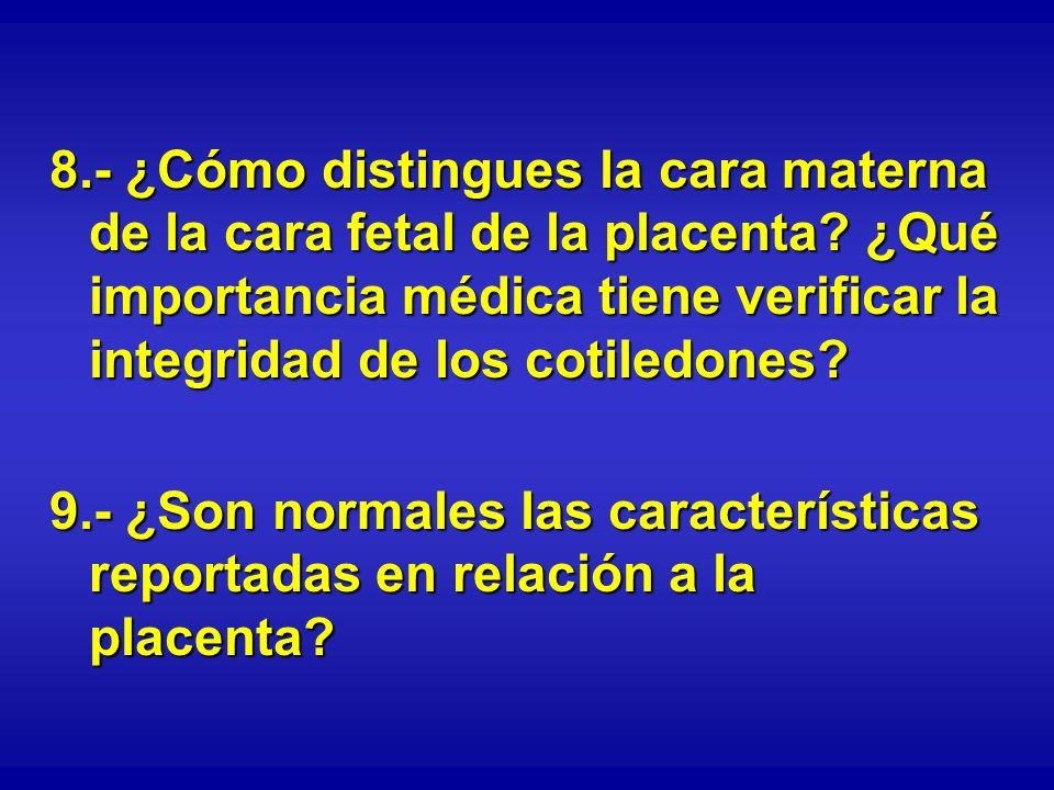 8.- ¿Cómo distingues la cara materna de la cara fetal de la placenta? ¿Qué importancia médica tiene verificar la integridad de los cotiledones? 9.- ¿S