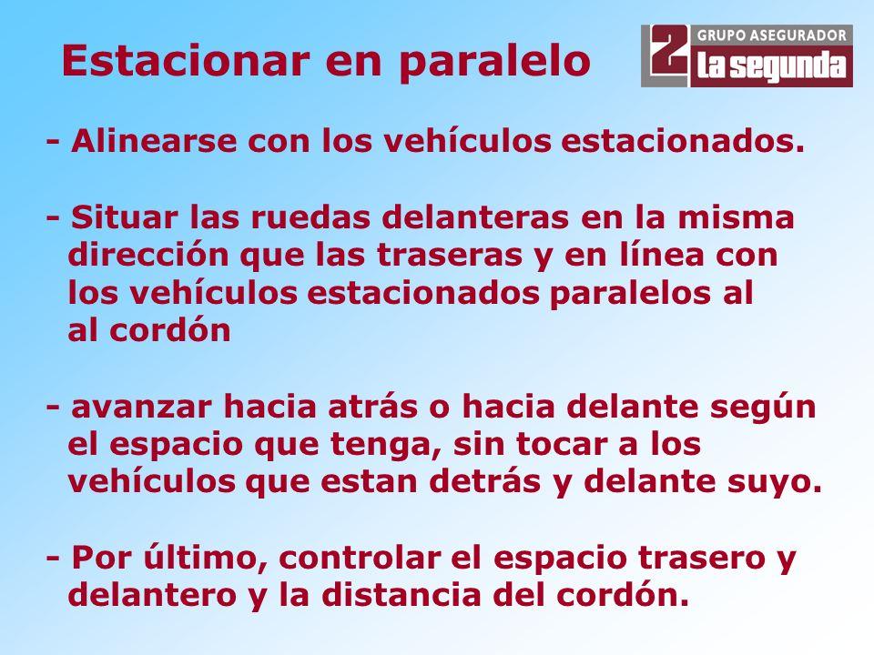 - Alinearse con los vehículos estacionados. - Situar las ruedas delanteras en la misma dirección que las traseras y en línea con los vehículos estacio